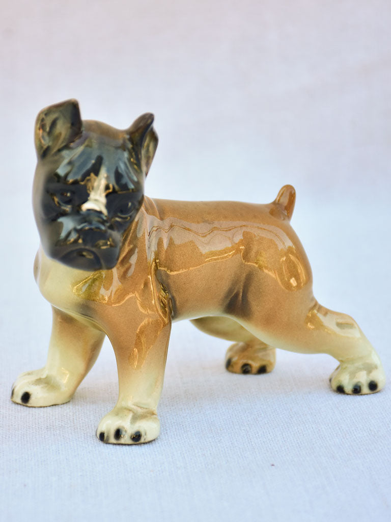 Small 1940's earthenware sculpture of a young boxer dog