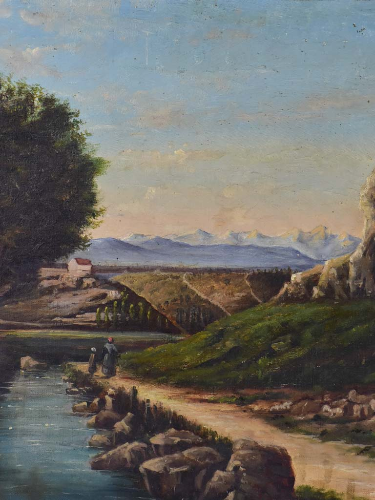 "Late 19th Century French landscape painting in original frame 25¼"" x 18"""