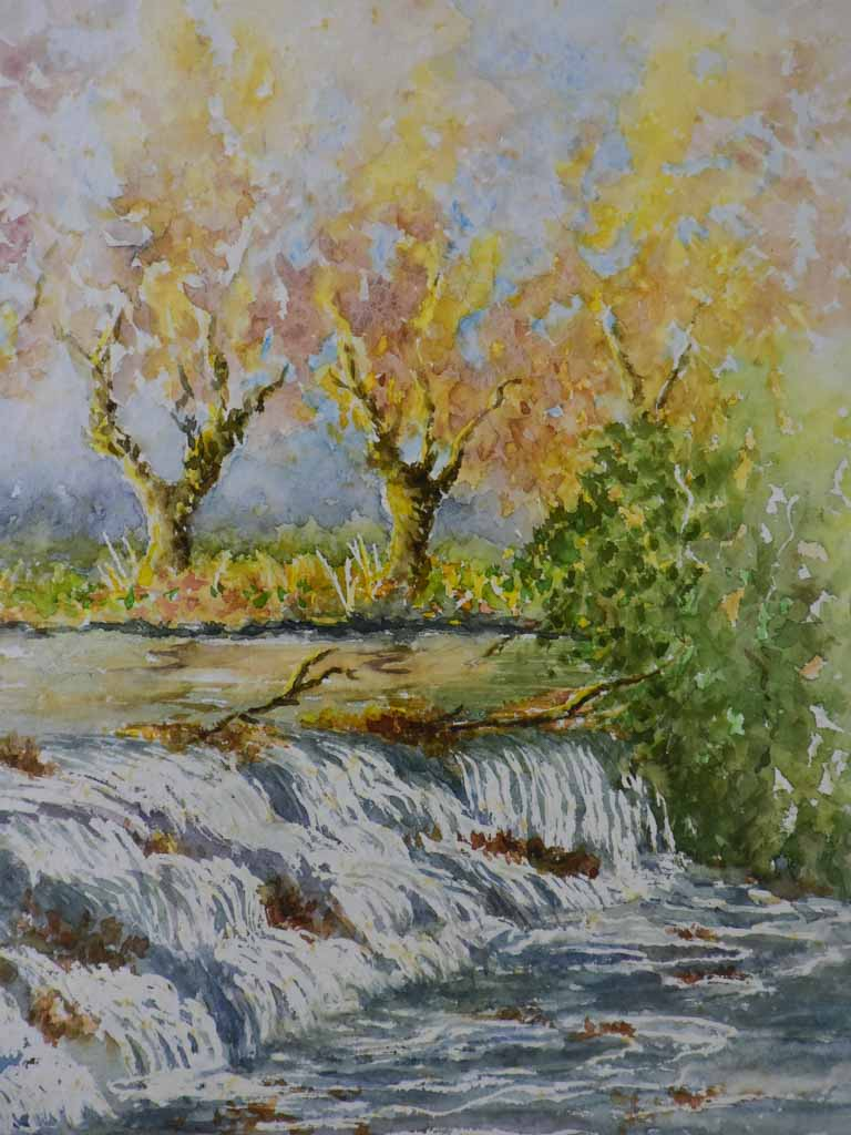 "Mid Century water colour painting of an autumnal landscape with rapids 19¾"" x 23¾"""