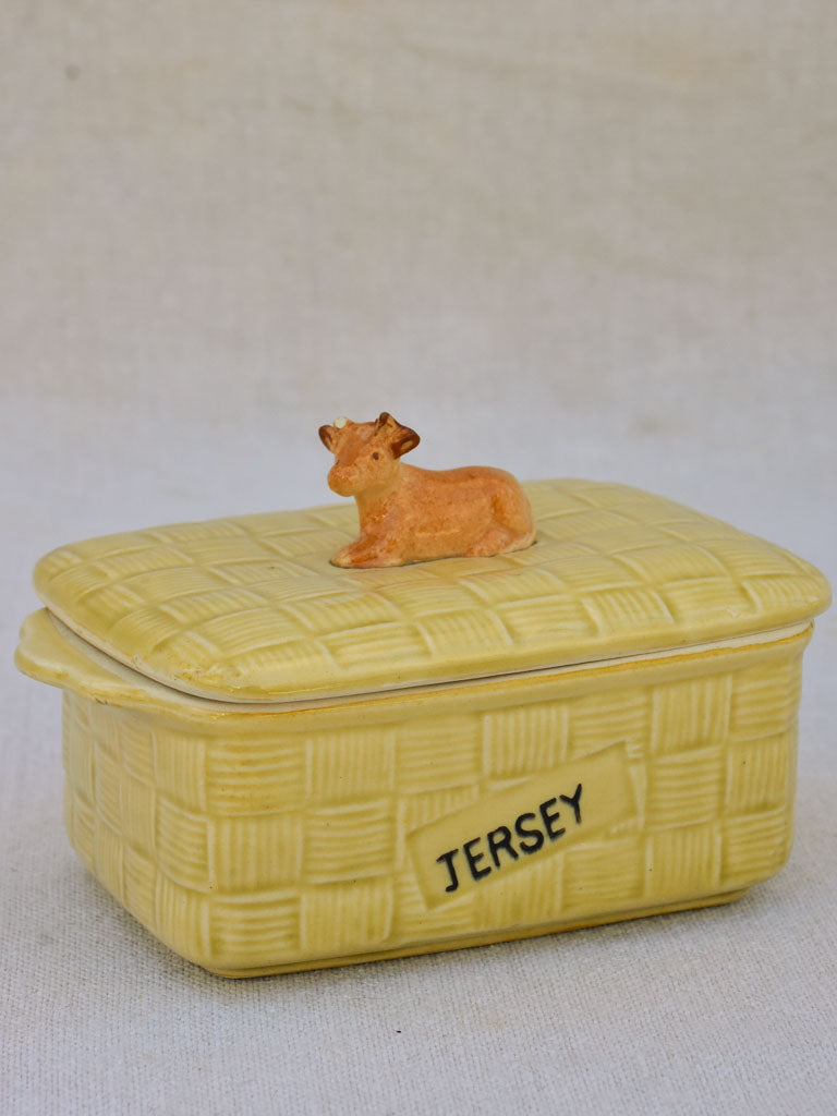 Mid century French butter dish with jersey cow
