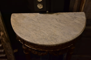 Louis XVI demilune console table with marble top
