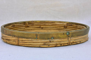Vintage bamboo and brass round tray 15""