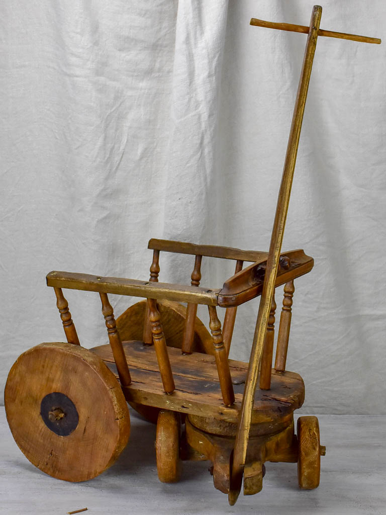 Antique French wooden toy chariot for girls