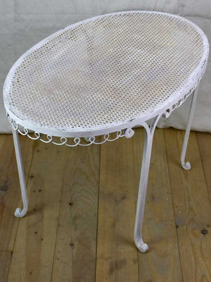 "RESERVED SS Oval French garden table with perforated metal 22¾"" x 38¼"""