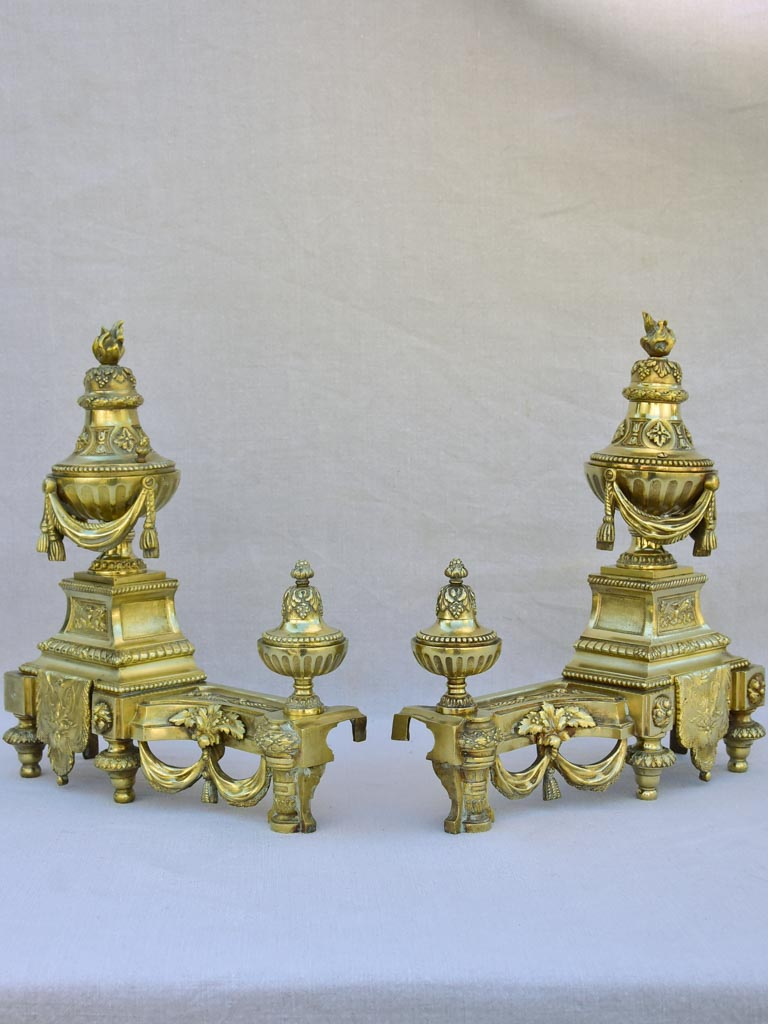 Pair of 19th century bronze fireplace decorations