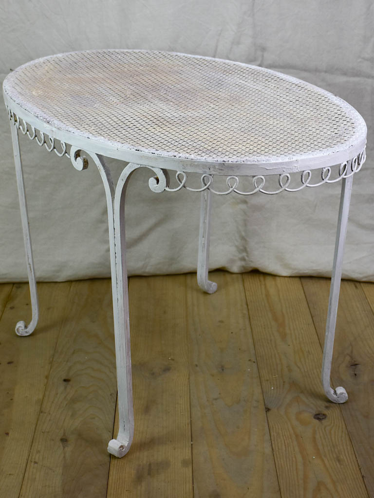 "Oval French garden table with perforated metal 22¾"" x 38¼"""