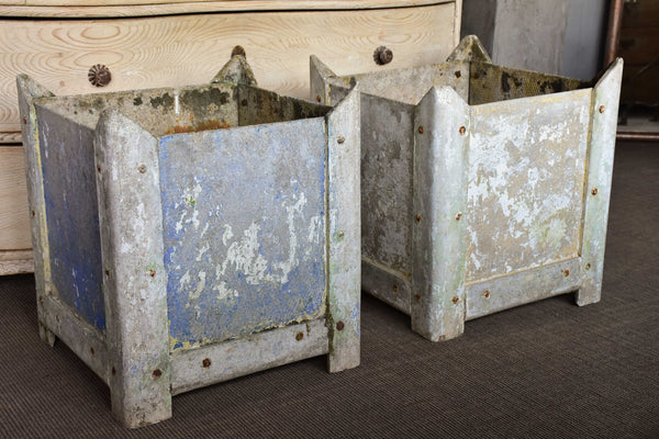A pair of square vintage French garden planters