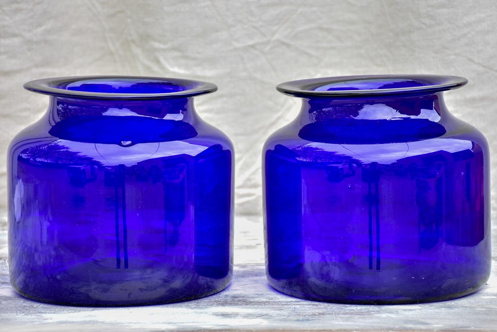 Pair of antique French cobalt blue glass jars