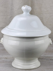 Antique French soup tureen with lion's heads - white