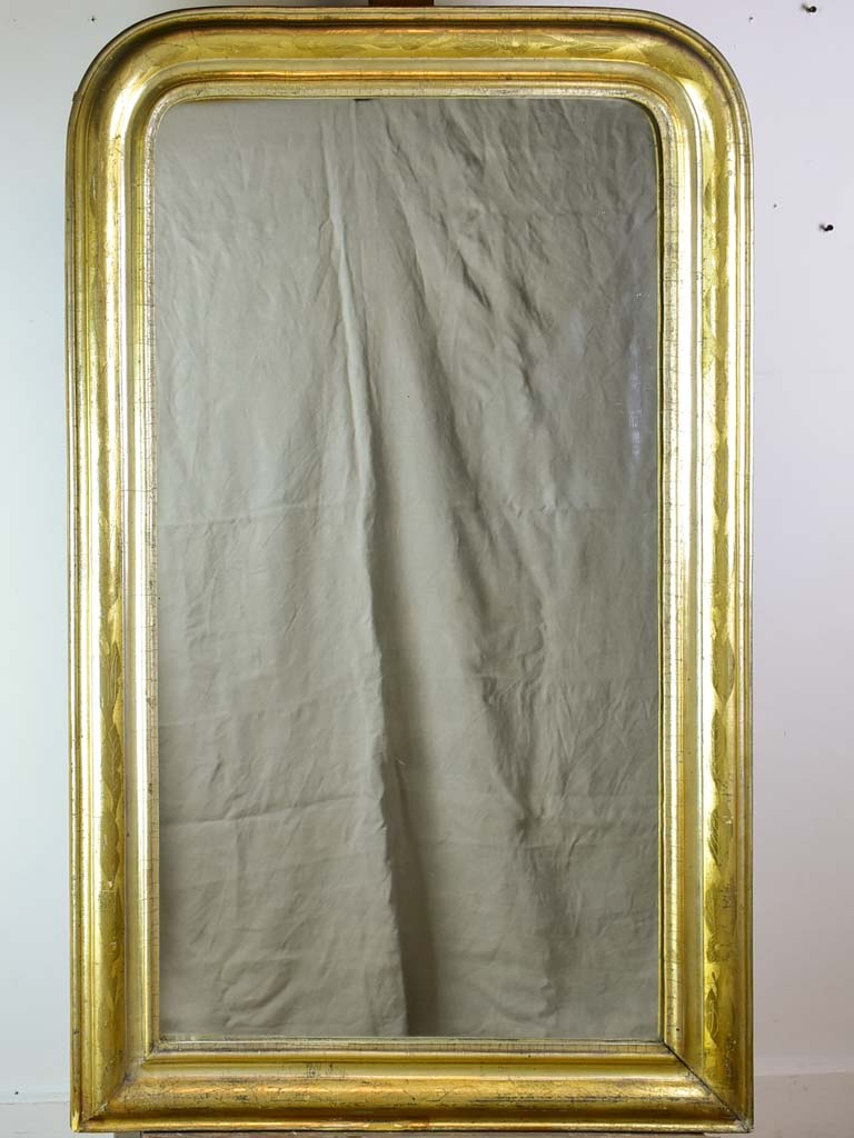 "Large antique French Louis Philippe mirror with gilded frame 29½"" x  48¾"""