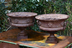 Pair of 19th century French garden urns with brown patina