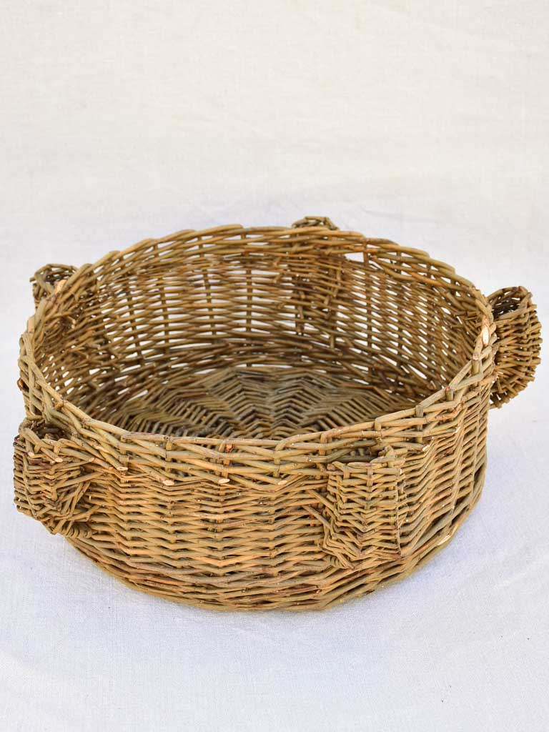 1960's French woven rattan basket with candle holders 14½""