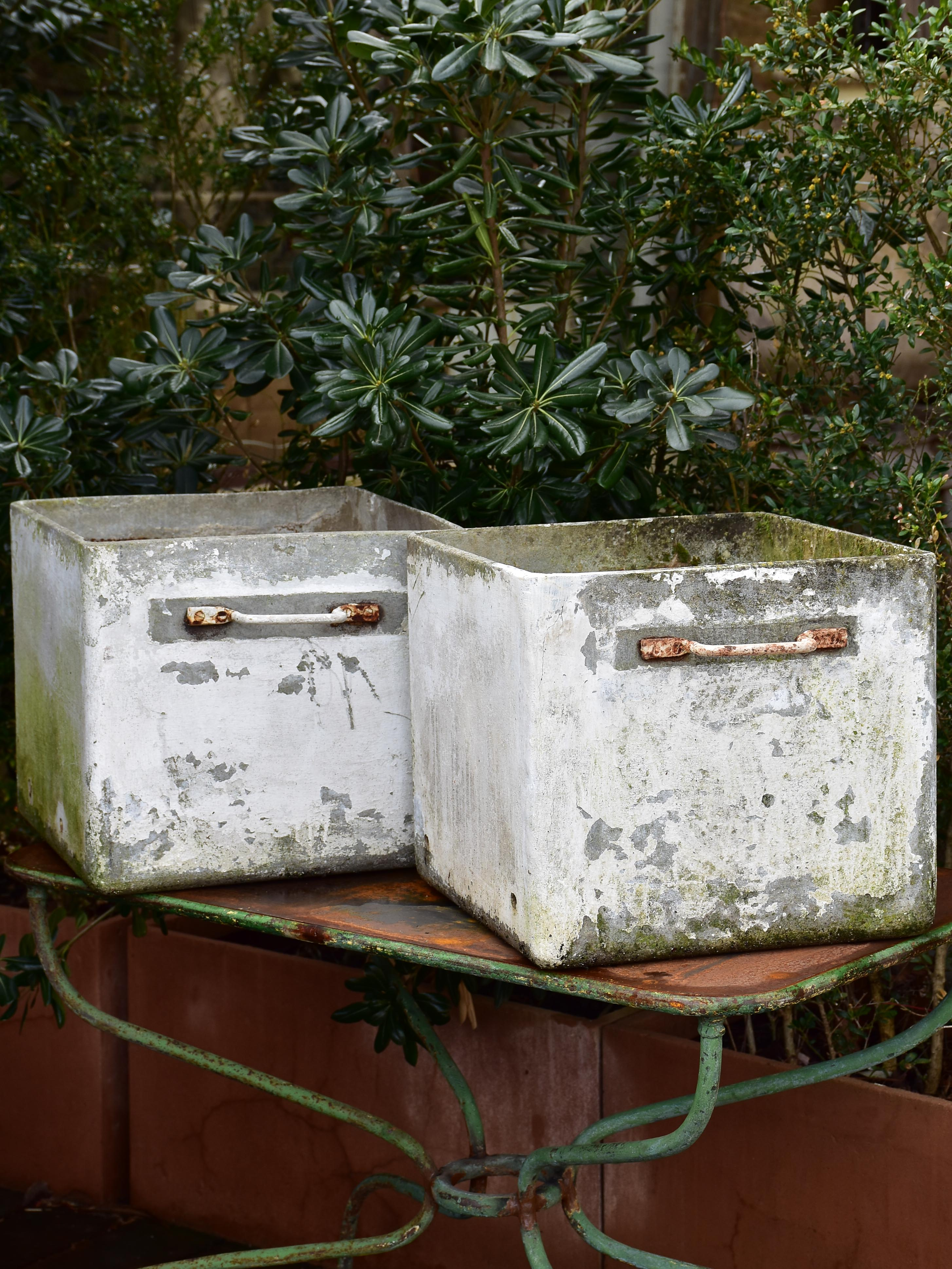 Pair of midcentury modern French square planters