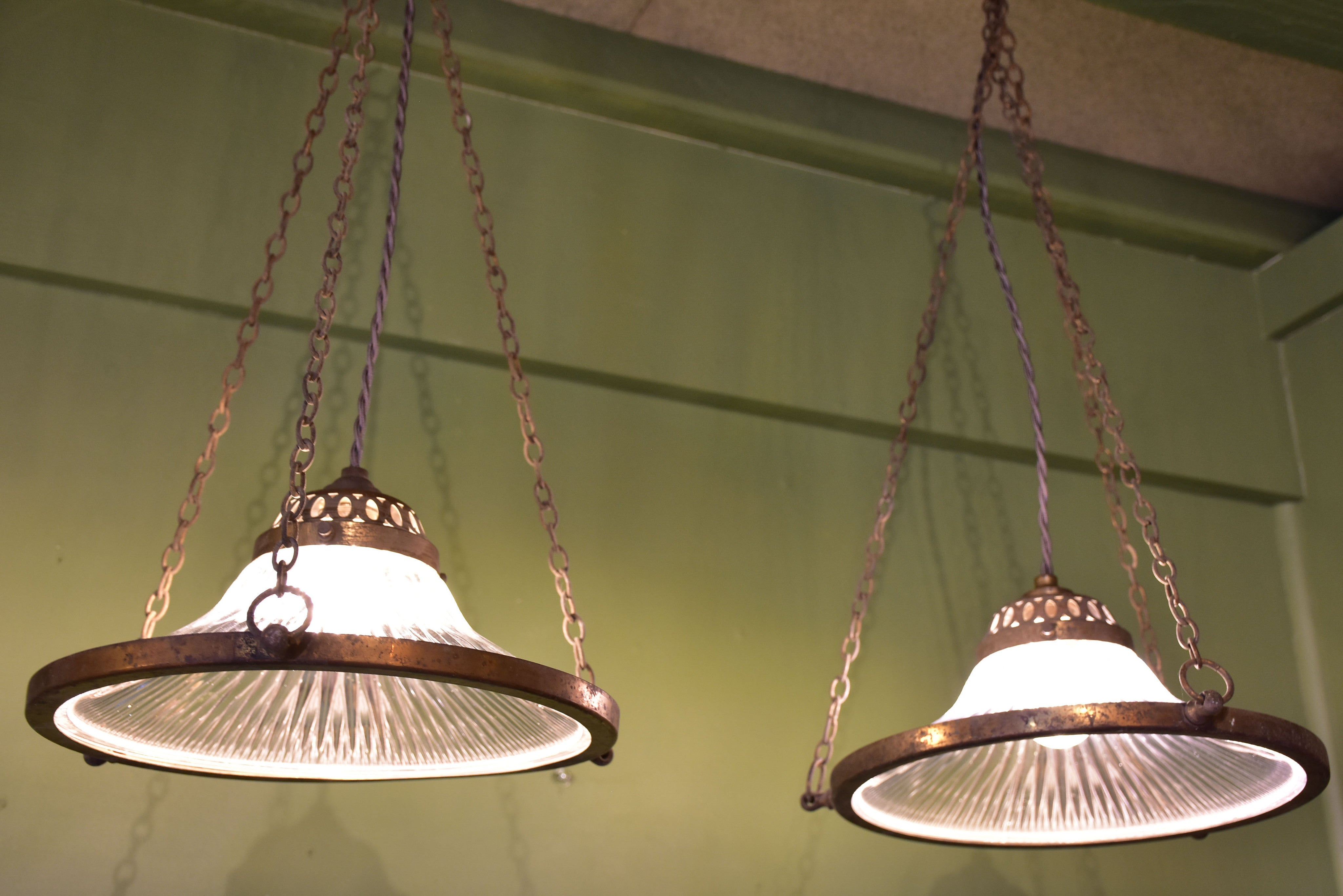 Pair of Verre Holophane suspended lights