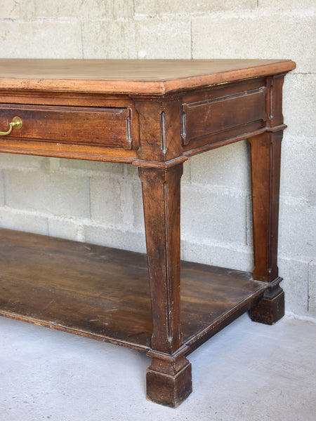 Antique French drapery table with beautiful carved details
