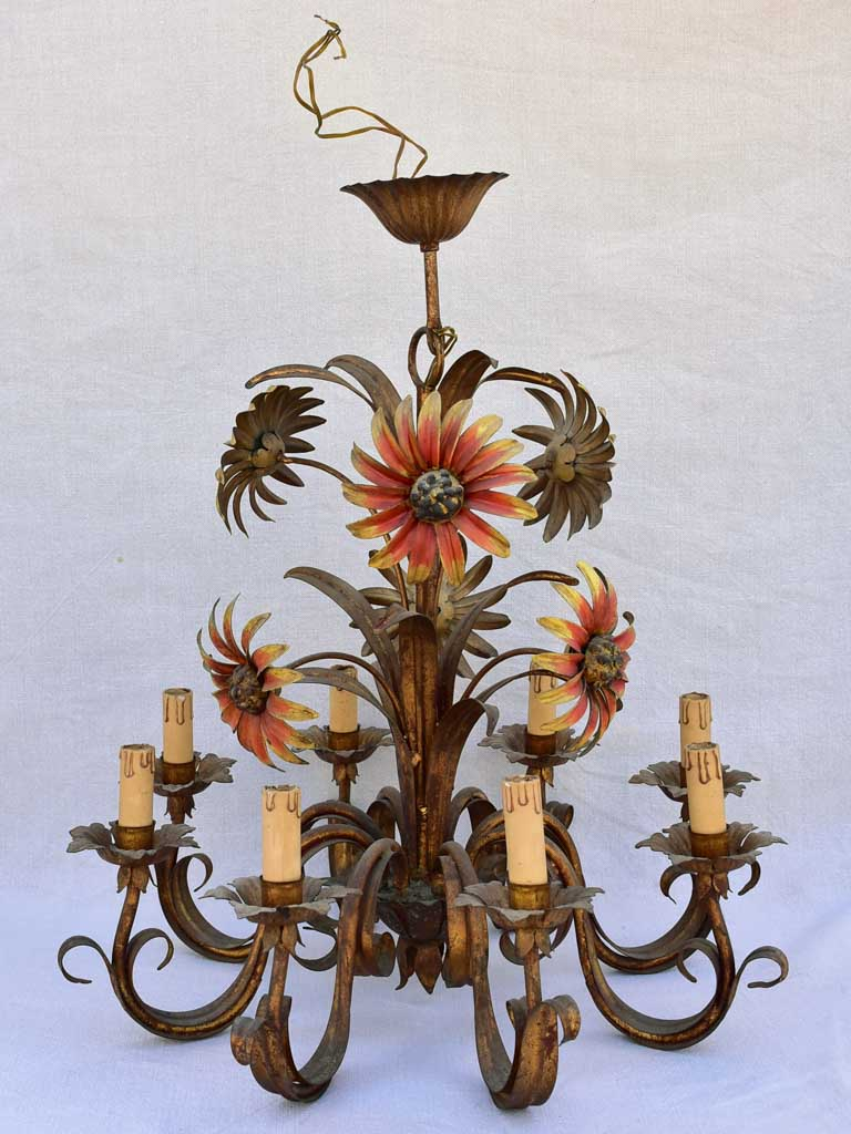 Mid century tole chandelier with daisies and eight lights 24¾""