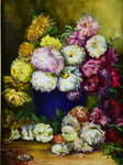 "French painting of dahlias in a decorative frame 22"" x 26"""