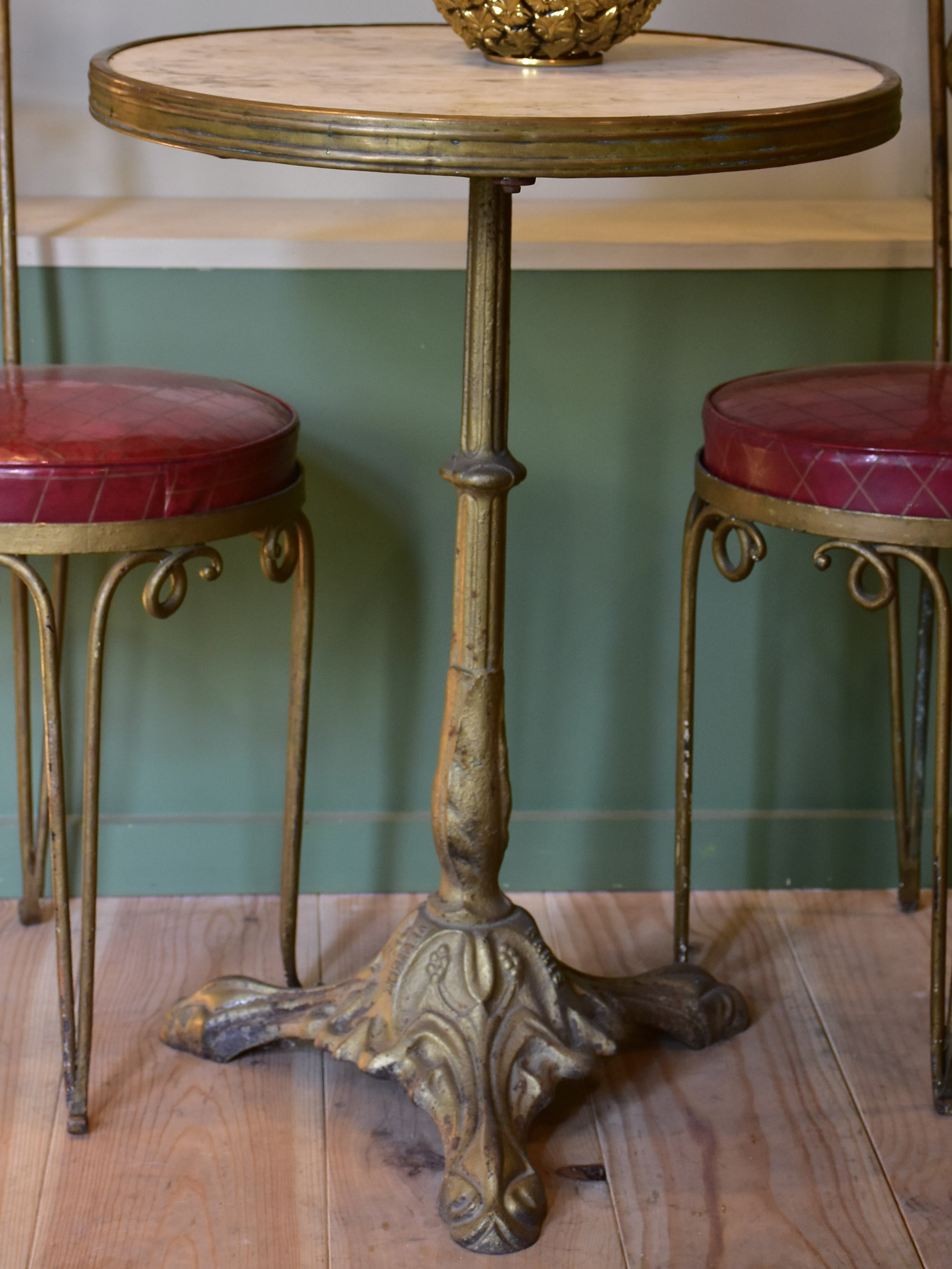 Marble top French garden table with gold base – 1930's