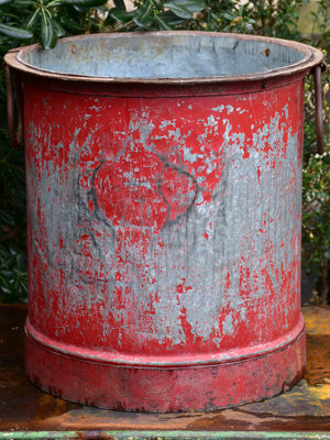 Industrial French bucket from the 1940's with red patina