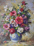 "French painting of a bouquet of flowers in a blue and white vase 21¼"" x 25¼"""