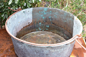 19th century copper cauldron with iron handle