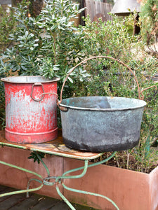 Industrial French bucket and copper cauldron