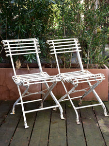 Pair of antique French folding Arras garden chairs with claw feet