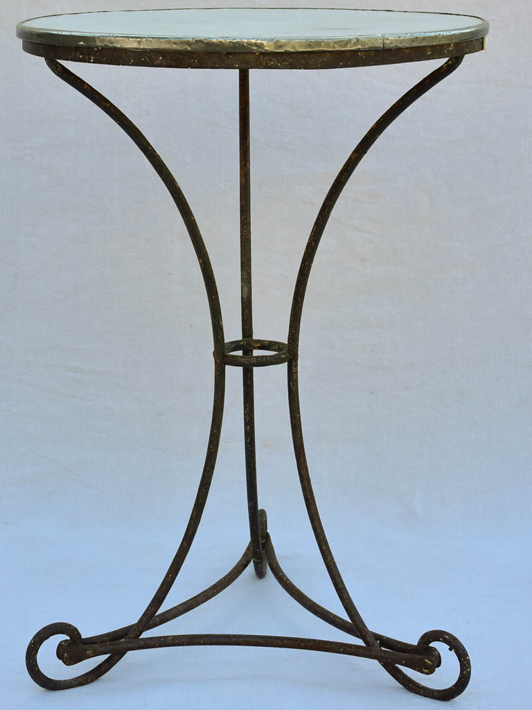 Pretty antique French table - wrought iron with enamel top