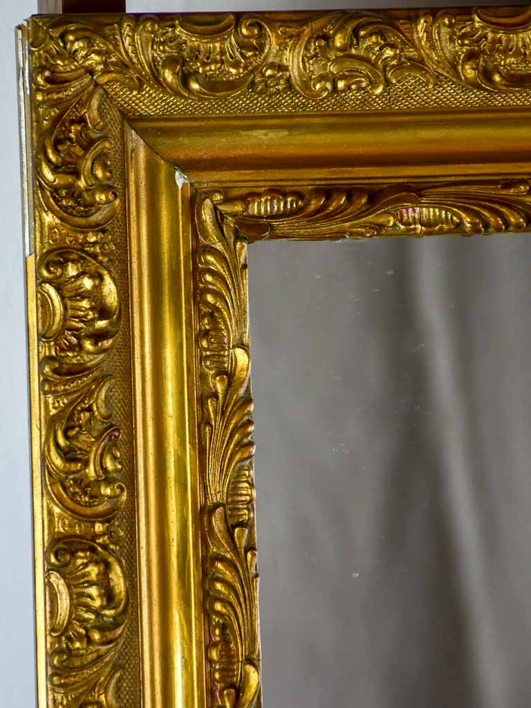 "Pretty antique French mirror with decorative frame 21¼"" x 25¼"""