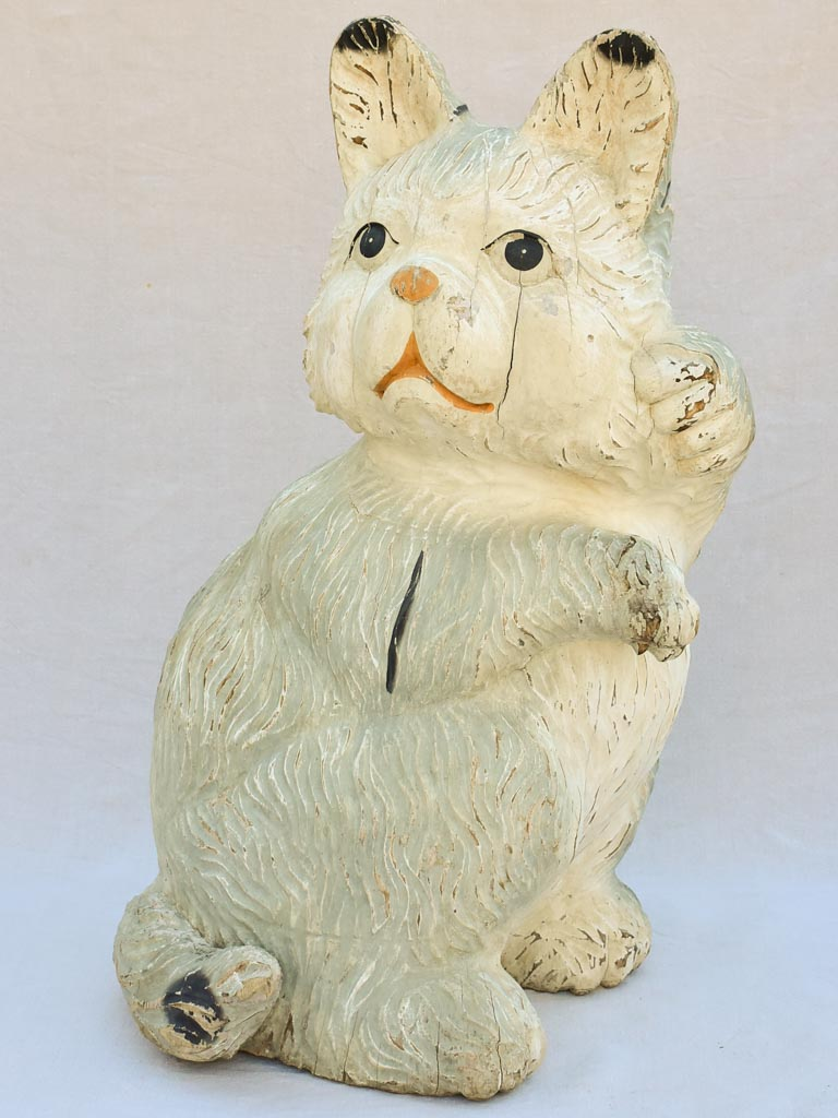 Over-size carved timber cat sculpture from the 1960's - 39½""