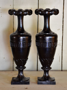 Pair of carved Napoleon III solifleur vases with black finish