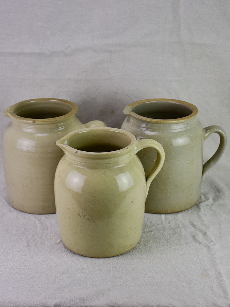 Three antique French milk pitchers from Auvergne 10¼""