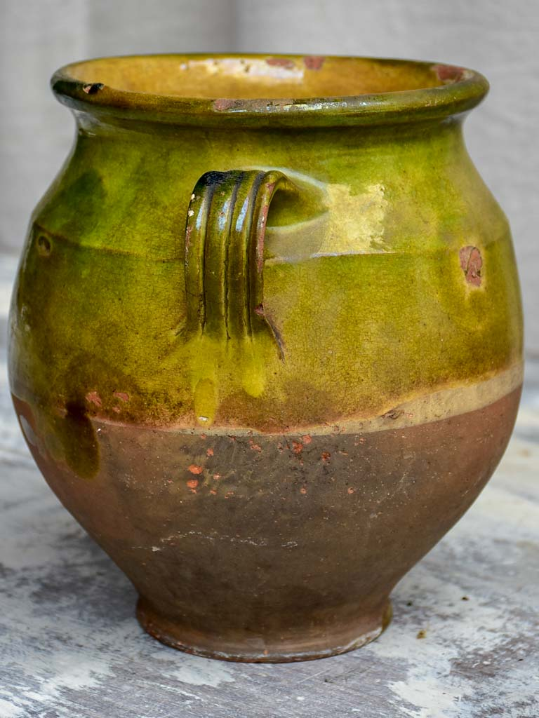 Antique French confit pot with green glaze 9""
