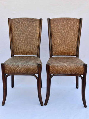 Set of ten mid-century dining chairs - cane and bentwood
