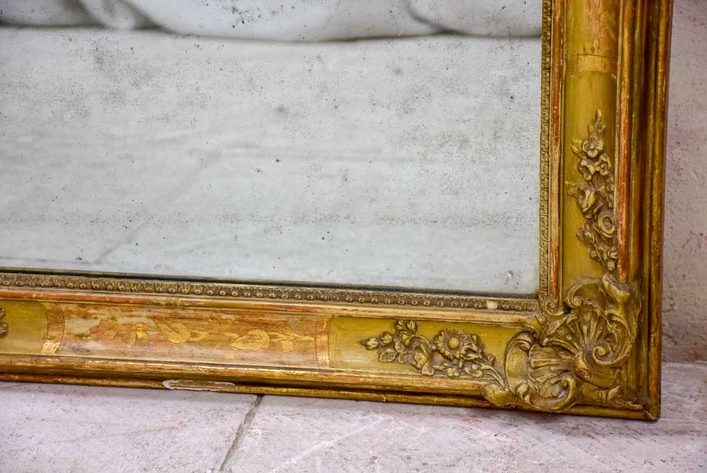 "Large Louis Philippe mirror with decorative gilded frame 29½"" x  51½"""