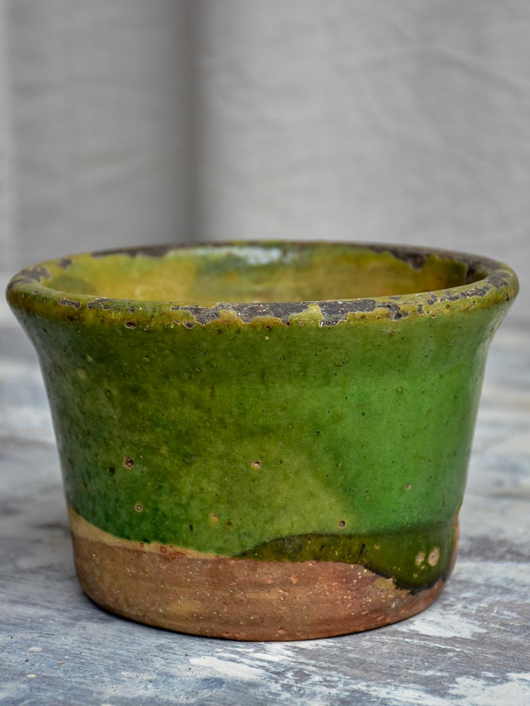 Antique French bowl with green glaze