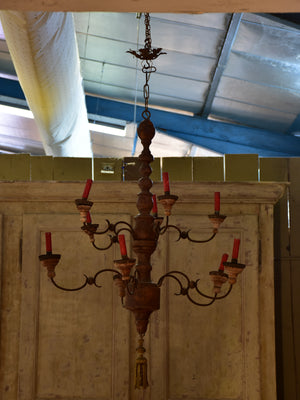 19th century Italian chandelier in iron and wood