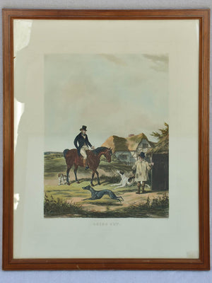 "Antique English engraving of a hunting scene 'Going out' 22¾"" x 28¾"""