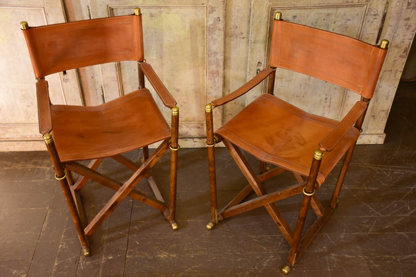 Pair Of Vintage Folding Leather Director Chairs   Almazan