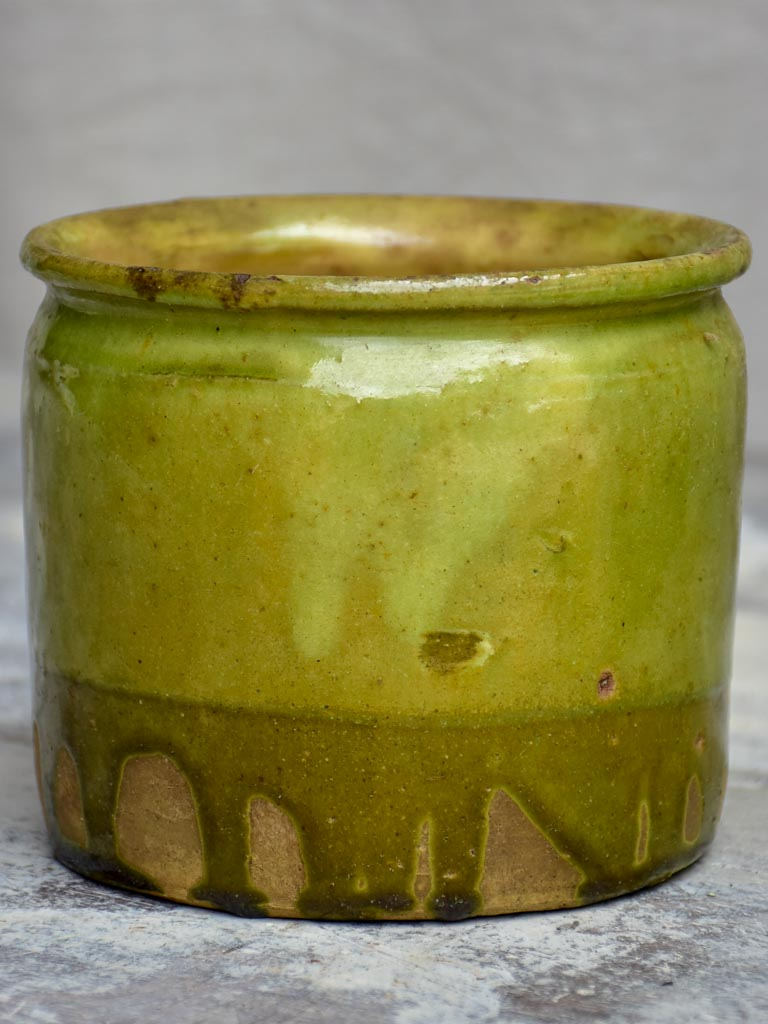 Antique French pot with light green glaze