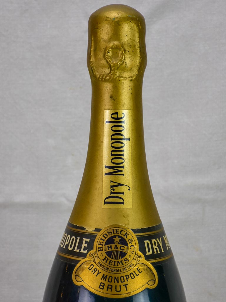 1950's faux champagne advertisement bottle - Dry Monopole 25½""
