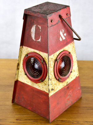 Antique French 'cligniscope' warning lamp