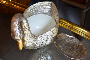 Silver and gold Mauro Manetti swan ice bucket