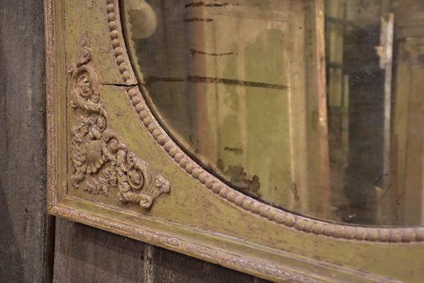 19th century French trumeau mirror with mint green frame