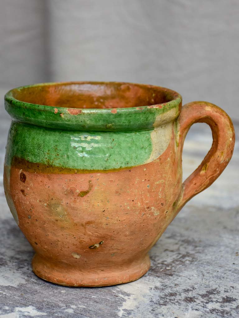 Antique French mug with green glaze
