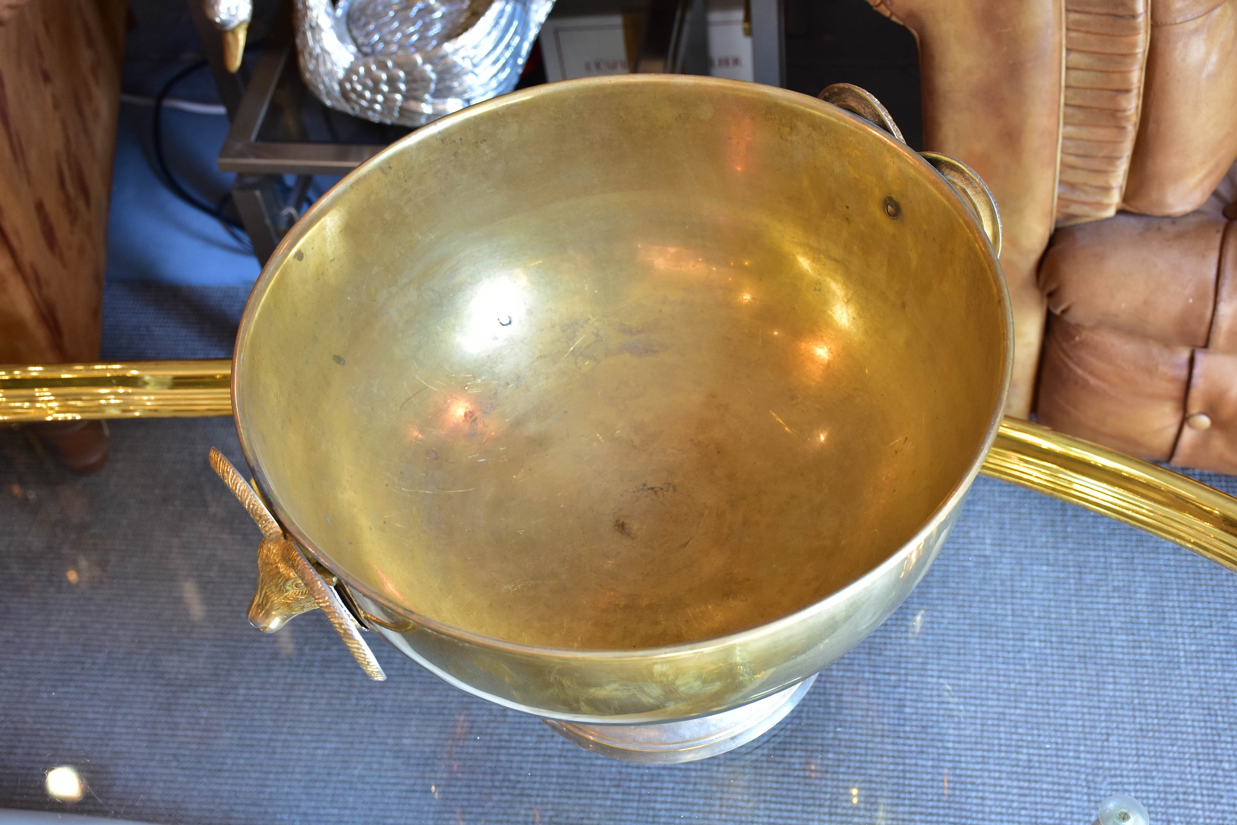 Large vintage Champagne bucket with rams' heads handles