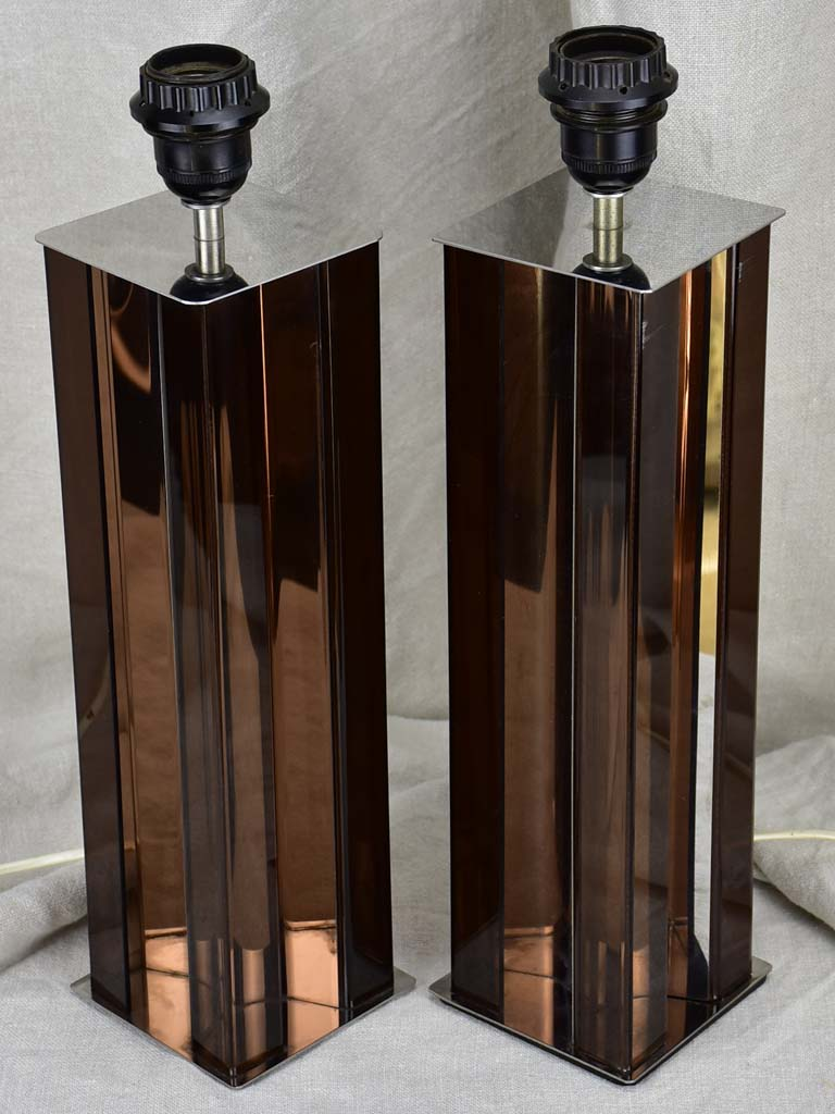Pair of 1970's lamp bases - brown lucite and chrome