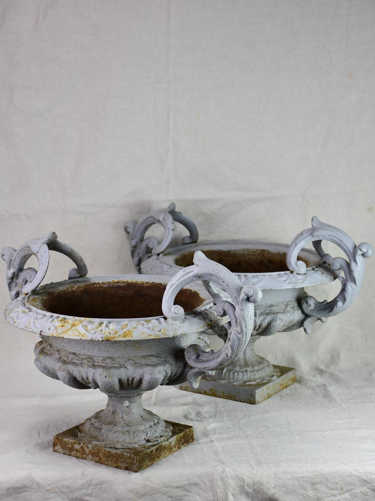 Pair of cast iron Medici urns with gray painted finish 17¾""