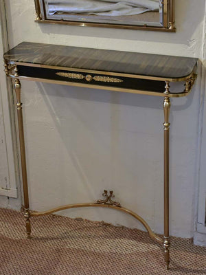 Maison Jansen style console table with matching mirror - dolphin and bay leaf motifs