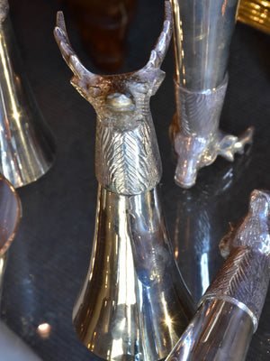 Set of six silver plated hunter's champagne glasses